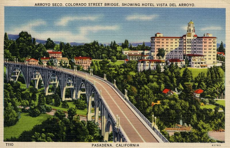 Colorado St. Bridge, looking eastward into Pasadena